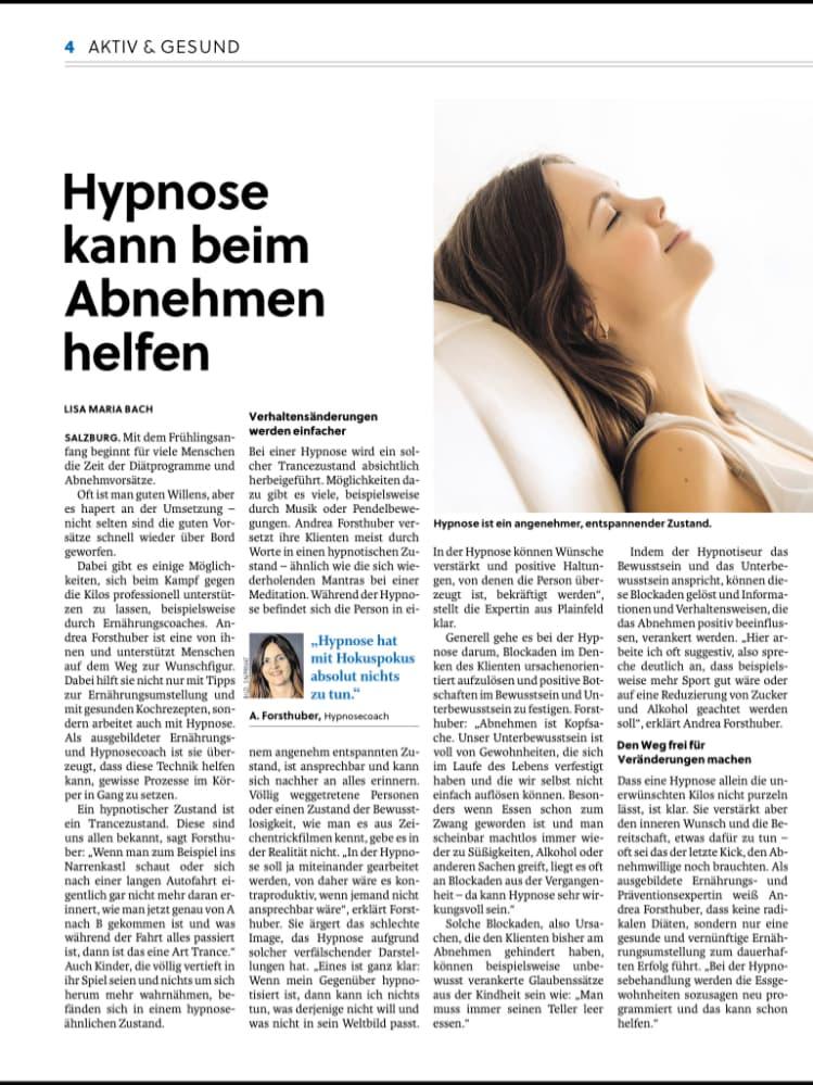 Salzburger Nachrichten Artikel Hypnose Salzburg