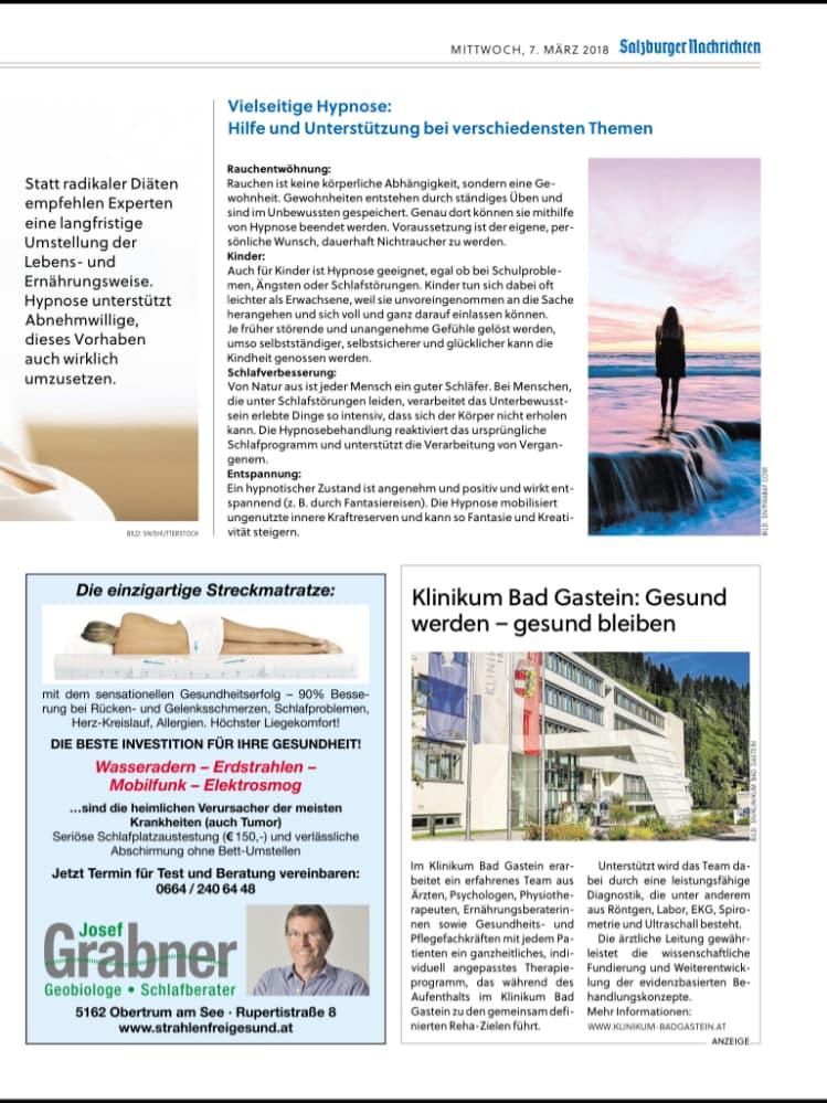 Artikel über mich und meine Arbeit mit Hypnose in den Salzburger Nachrichten